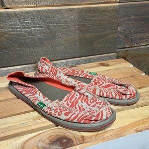 Sanuk Leopard Zebra Slip On Loafers 9